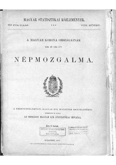 A Magyar Korona országainak 1892. és 1893. évi népmozgalma