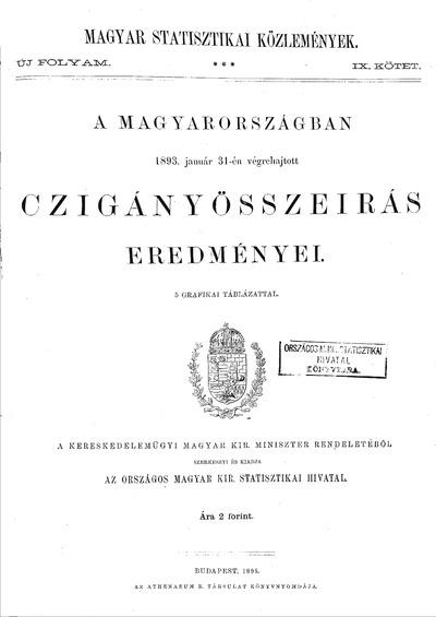 A Magyarországban 1893. január 31-én végrehajtott czigányösszeírás eredményei