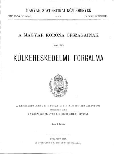 A Magyar Korona országainak 1896. évi külkereskedelmi forgalma