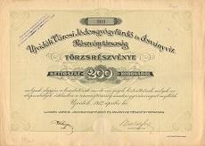 Az Újvidék Városi Jódosgyógyfürdő és Ásványvíz Rt. törzsrészvénye 200 koronáról
