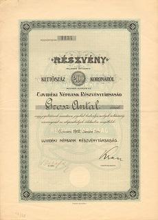 Az Újvidéki Népbank Rt. részvénye 200 koronáról