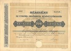 Az Ungvári Fillérbank Rt. részvénye 200 koronáról