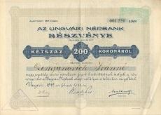 Az Ungvári Népbank Rt. részvénye 200 koronáról