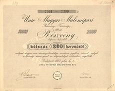 Az Unio Magyar Malomipari Rt. összevont részvénye 20000 koronáról