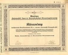Az Unitas Automobil-Ipar és Kereskedelmi Rt. részvénye 15 pengőről