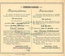 Az Universal LLoyd Elemi és Szállítmánybiztosító Rt. összevont részvényutalványa 10000 korona értékben