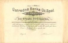 Az Ústredná Banka Úc. Spol. (Központi Bank Rt.) részvénye 200 korona értékben