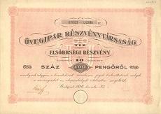 Az Üvegipar Rt. összevont elsőbbségi részvénye 100 pengőről