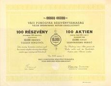 A Váci Fonógyár Rt. összevont részvénye 10000 pengőről