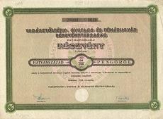 A Vadásztöltény-, Gyutacs- és Fémárugyár Rt. részvénye 0.60 pengőről