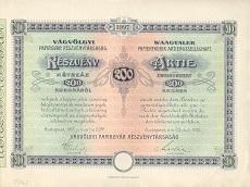 A Vágvölgyi Papírárugyár Rt. részvénye 200 koronáról