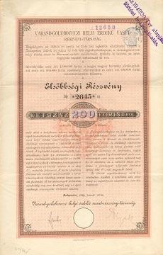 A Varasd-Goluboveczi Helyi Érdekű Vasút Rt. elsőbbségi részvénye 200 osztrák értékű forintról