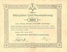 A Válaszfalakat Építő Rt. részvénye 500 koronáról