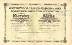 A Vármegyei Mezőgazdasági- és Iparfejlesztő Rt. részvénye 400 koronáról