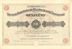 A Vármegyei Takarékpénztár Rt. összevont részvénye 1000 pengő értékben