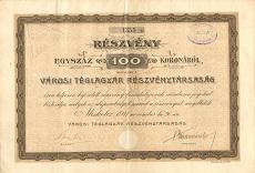 A Városi Téglagyár Rt. részvénye 100 koronáról