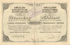 A Városlődi Kőedénygyár Rt. összevont részvénye 10000 koronáról
