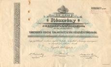 A Várpalota-Vidéki Takarékpénztár Rt. részvénye 100 koronáról