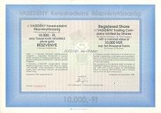 A Vasedény Kereskedelmi Rt. részvénye 10000 forintról