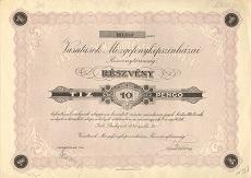 A Vasutasok Mozgófényképszínházai Rt. részvénye 10 pengő értékben