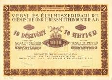 A Vegyi- és Élelmiszeripari Rt. részvénye 1000 pengő értékben