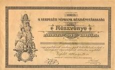 A Verpeléti Népbank Rt. részvénye 300 koronáról