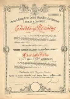 A Versecz-Kubini Helyi Érdekű Vasút Rt. elsőbbségi részvénye 500 koronáról