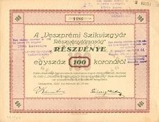 A Veszprémi Szikvízgyár Rt. részvénye 100 koronáról