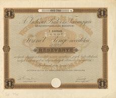 A Victoria Bútor- és Faárugyár Rt. részvénye 15 pengőről