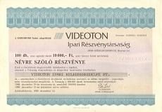 A VIDEOTON Ipari Rt. összevont részvénye 1000000 forintról