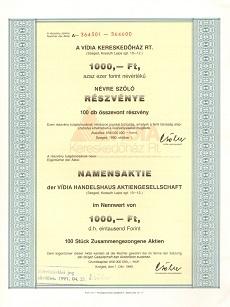 A Vídia Kereskedőház Rt. összevont részvénye 100000 forint értékben