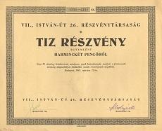 A VII., István Út 26. Rt. összevont részvénye 320 pengőről