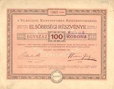A Világosság Könyvnyomda Rt. elsőbbségi részvénye 100 korona értékben