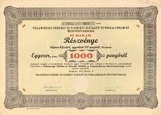 A Villamossági Cikkeket és Elemeket Előállító és Forgalombahozó Rt. összevont részvénye 1000 pengőről