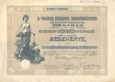 A Villányi Központi Takarékpénztár Rt. összevont részvénye 1000 pengőről