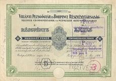 A Villányi Pezsgőgyár és Borpince Rt. részvénye 25 pengő értékben
