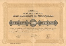 A Vingai Takarékpénztár Rt. részvénye 400 koronáról
