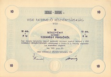 A Viski Fatermelő Rt. összevont részvénye 140 pengőről