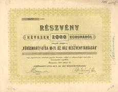 A Vörösmarty Utca 69-71. Sz. Ház Rt. részvénye 2000 koronáról