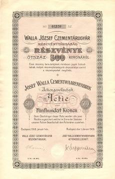 A Walla József Czementárugyár Rt. részvénye 500 koronáról