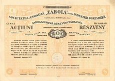 A Zabolai Faipari Rt. összevont részvénye 200 lei értékben