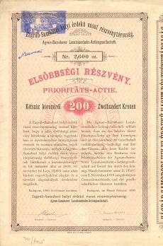 A Zágráb-Samobori Helyi Érdekű Vasút Rt. elsőbbségi részvénye 200 koronáról