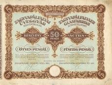 A Zagyvapálfalvai Üveggyár Rt. részvénye 50 pengőről
