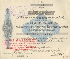 A Zalaegerszegi Központi Takarékpénztár Rt. részvénye 4000 koronáról