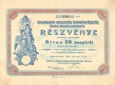 A Zalamegyei Gazdasági Takarékpénztár Rt. részvénye 50 pengőről