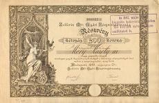 A Zellerin Féle Gyári Rt. részvénye 200 koronáról