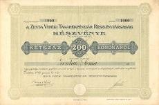 A Zenta Vidéki Takarékpénztár Rt. részvénye 200 koronáról