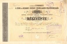 A Zentai és Roskányi Egyesült Iparvállalatok Rt. részvénye 200 korona értékben