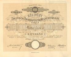 A Zirczvidéki Takarékpénztár Rt. részvénye 100 korona értékben