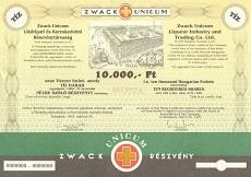 A Zwack Unicum Likőripari és Kereskedelmi Rt. összevont részvénye 10000 forint értékben